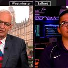 Tweet from Channel 4 News, showing Jon Snow (left) interviewing US Army veteran Juan Jasso who was racially abused on a Manchester tram Credit: Channel 4 News/PA Wire