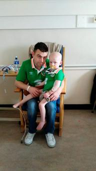 Ryan Coyle (2) from Duleek, Co Meath with his dad Donal