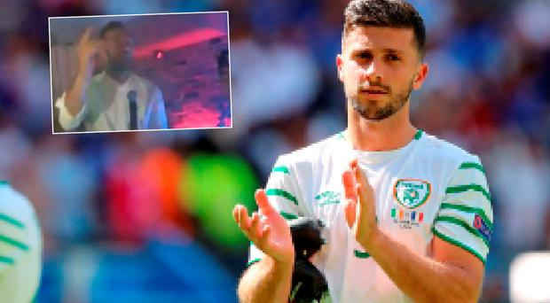 Shane Duffy sand Shane Long's On Fire in a Derry bar