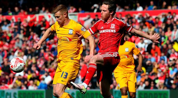 Eoin Doyle, seen here in action for Preston, has moved to Oldham on loan