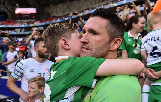 Lyon , France - 26 June 2016; Robbie Keane of Republic of Ireland with his son Robert after the UEFA Euro 2016 Round of 16 match between France and Republic of Ireland at Stade des Lumieres in Lyon, France. (Photo By David Maher/Sportsfile via Getty Images)