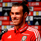 Wales' Gareth Bale during a press conference. Photo: Joe Giddens/PA Wire.