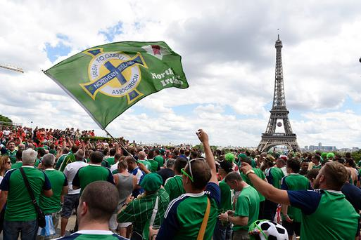 Northern Ireland fans at the The Eiffel Tower before the UEFA Euro 2016 Round of 16 match between Wales and Northern Ireland