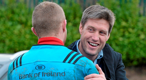 Ronan O'Gara greets Munster's Keith Earls on a return to their training base in CIT last December. The Ireland legend will be returning in an official capacity with Racing 92 next season. Photo: Diarmuid Greene / Sportsfile