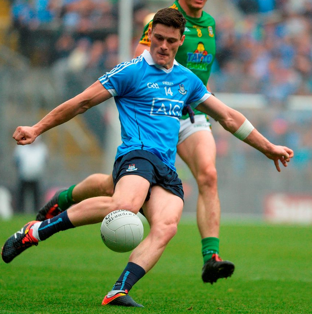 Dublin's Diarmuid Connolly strikes over a majestic point during the first half of last Sunday's Leinster SFC semi-final at Croke Park. Photo: Piaras Ó Mídheach/Sportsfile