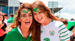 Irish supporters Louise Hannon and Lisa Dunne from Dublin at the France game in Lyon Photo by Ray McManus/Sportsfile