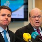 Public Expenditure Minister Paschal Donohoe and Finance Minister Michael Noonan are trying to calm Brexit speculation Photo: Gareth Chaney/Collins