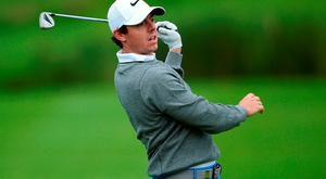 Rory McIlroy reacts to his 2nd shot on the 12th hole during the first round of the 100th Open de France at Le Golf National