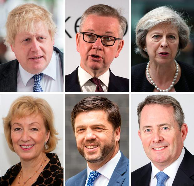 Undated file photos of contenders to replace David Cameron (top row left to right) Boris Johnson, Michael Gove, Theresa May, (bottom row left to right) Andrea Leadsom, Stephen Crabb and Liam Fox, as nominations close at 12pm today. PRESS ASSOCIATION Photo. Issue date: Thursday June 30, 2016. PA Wire