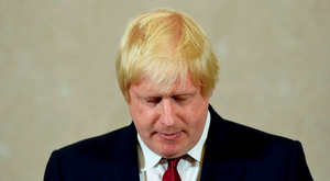 Vote Leave campaign leader, Boris Johnson, reacts as he delivers a speech in London Picture: REUTERS/Toby Melville