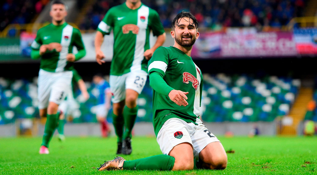 Cork City put one foot in the next round of the Europa League with an impressive 1-0 victory against Linfield. Picture credit: Ramsey Cardy/Sportsfile
