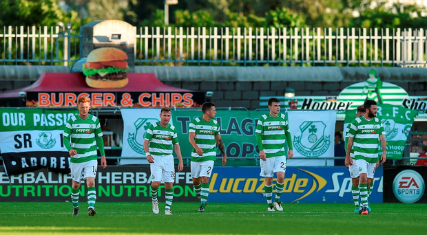 Dejection is the name of the game for Shamrock Rovers players in Tallaght last night. Picture credit: David Maher/Sportsfile