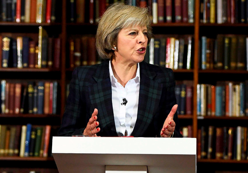 British Home Secretary Theresa May speaks at the Royal United Services Institute in London yesterday Photo: Reuters