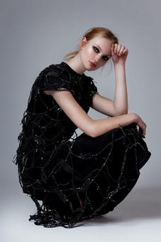 Black washed silk gabardine dress with hand-crocheted overlay, €2,160, Mary Gregory. Photo: Aaron Hurley
