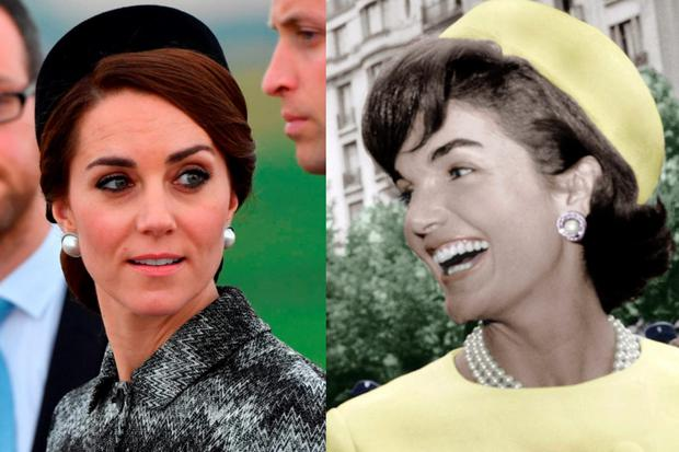 Kate Middleton in France in 2016, left, and Jackie O, right