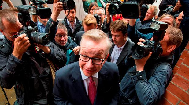 Michael Gove arrives at the Policy Exchange in London, as he prepared to set out his case for becoming prime minister: Dominic Lipinski/PA Wire