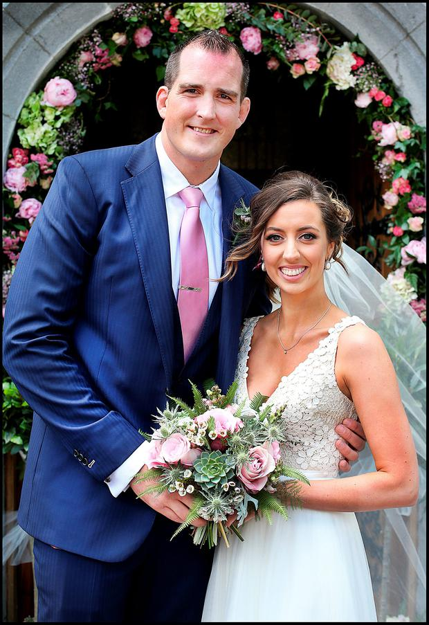 Devin Toner and Mary Scott who were married at the Church of the Nativity in Moynalvey, Summerhill, Co Meath. Picture: Steve Humphreys