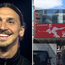 A banner has been erected to welcome Zlatan to Manchester