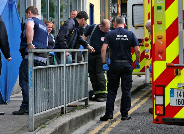 01/07/16 The scene of a gun attack on Bridgefoot Street, Dublin this evening... Picture, Collins Dublin.