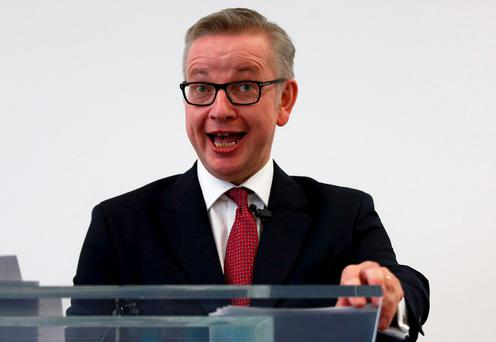 Michael Gove announcing his bid to become Conservative Party leader in London yesterday. Photo: Reuters