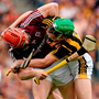 Joe Canning and Joey Holden tussle during last year's All-Ireland SHC final between Galway and Kilkenny. Photo: Brendan Moran/Sportsfile
