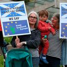 A demonstration outside the Scottish Parliament in Edinburgh ahead of a statement on Brexit by First Minister Nicola Sturgeon. Photo: PA