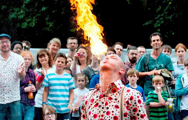 People enjoying street performers at Laya Healthcare's City Spectacular in Dublin's Merrion Square last year. Photo: Collins