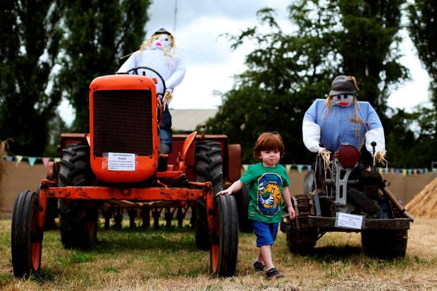 Patrick Ryan (3) at last year's Durrow Scarecrow Festival. Photo: Brian Lawless/PA Wire