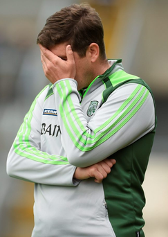 Eamonn Fitzmaurice watches Kerry concede 17 points against Clare last month. Photo: Diarmuid Greene/Sportsfile