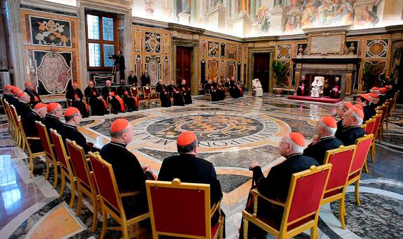 A general view of the ceremony with Pope Francis and retired Pope Benedict XVI, to celebrate Benedict's 65th anniversary of his ordination as a priest, in the Clementine Hall of the Apostolic Palace, at the Vatican, Tuesday, June 28, 2016. (L'Osservatore Romano/Pool photo via AP)