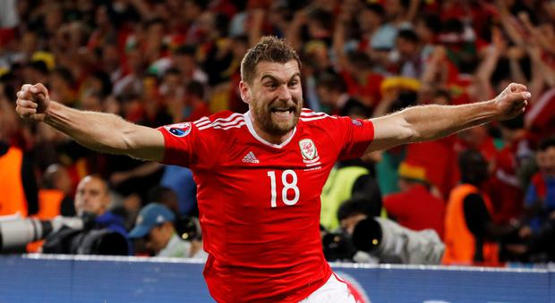 Wales' Sam Vokes celebrates scoring their third goal REUTERS/Darren Staples Livepic