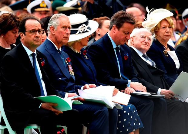 François Hollande, Prince Charles and the Duchess of Cornwall, David Cameron and President Michael D Higgins and his wife Sabina at the ceremony yesterday. Photo: PA Wire
