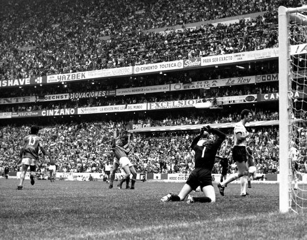West Germany's golakeeper Sepp Maier is beaten by Gianni Rivera's winning goal in extra time, as Rivera and Riva celebrate (Photo by Popperfoto/Getty Images)