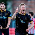 Daryl Horgan of Dundalk celebrates after scoring his side's fourth goal during the SSE Airtricity League Premier Division match between Derry City and Dundalk at the Brandywell Stadium in Derry. Photo by David Maher/Sportsfile