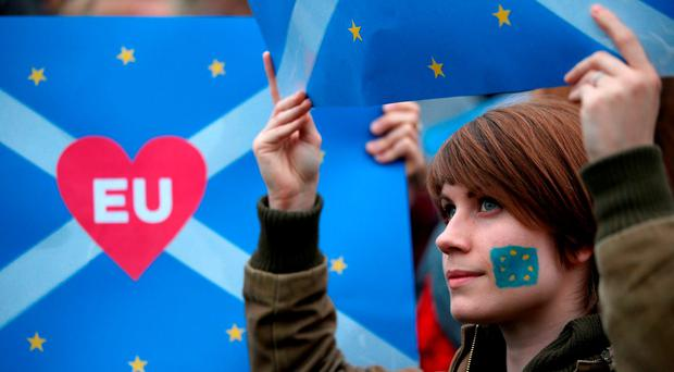 Bryony Jackson was one of the thousands of 'Remain' supporters that gathered outside the Scottish Parliament, in Edinburgh, to show their support for the EU in the wake of Brexit. Photo: Jane Barlow/PA Wire