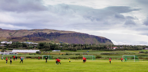 Young players training at the the football club in Mosfellsbaer, near Reykjavik, where Iceland international Hannes Haldorsson started playing. Photo: AFP/Getty