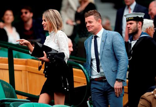 Brian O'Driscoll and Amy Huberman in the royal box on day Six of the Wimbledon Championships
