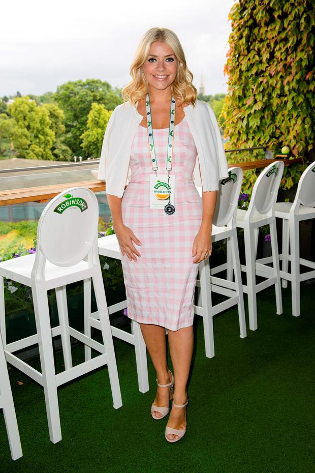 Holly Willoughby attends the Robinsons suite at The All England Tennis Club in Wimbledon, London, to enjoy a real #tasteofwimbledon.