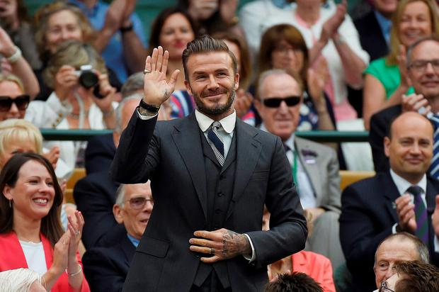 David Beckham in the royal box on centre court REUTERS/Toby Melville