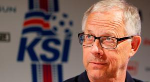 Iceland's coach Lars Lagerback during a news conference. REUTERS/Robert Pratta