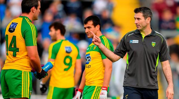 2 July 2016; Donegal manager Rory Gallagher and Michael Murphy during the Ulster GAA Football Senior Championship Semi-Final Replay between Donegal and Monaghan at Kingspan Breffni Park in Cavan. Photo by Stephen McCarthy/Sportsfile