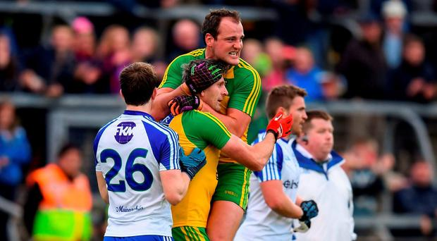 Christy Toye and Michael Murphy, top, of Donegal celebrate after the Ulster GAA Football Senior Championship Semi-Final Replay between Donegal and Monaghan at Kingspan Breffni Park in Cavan. Photo by Stephen McCarthy/Sportsfile