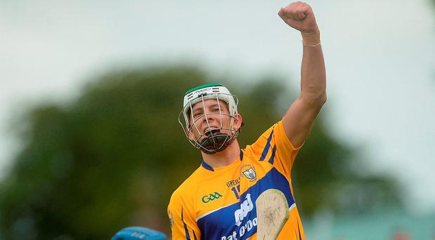 2 July 2016; Aron Shanagher of Clare celebrates a goal scored by team-mate Shane O'Donnell during the GAA Hurling All-Ireland Senior Championship Round 1 match between Clare and Laois at Cusack Park in Ennis, Co Clare. Photo by Piaras Ó Mídheach/Sportsfile
