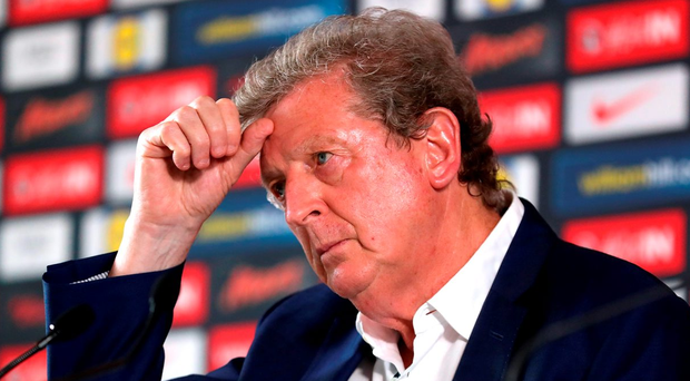 England manager Roy Hodgson faces the press after being knocked out of the 2016 European Championships by Iceland. Photo: Mike Egerton/PA