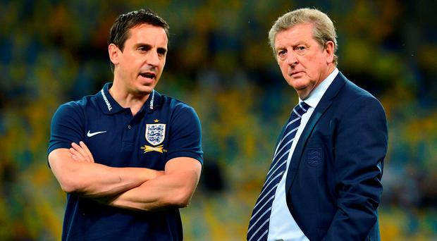 Gary Neville was part of the England managerial team in France