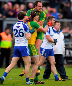 Donegal players Christy Toye and Michael Murphy celebrate after their victory over Monaghan in last night's Ulster football championship replay. Photo: Stephen McCarthy/Sportsfile