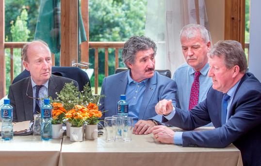 TESTING TIME: TDs from the Independent Alliance, Minister for Transport Shane Ross, John Halligan, Finian McGrath, and Sean Canning. Photo: Tony Gavin