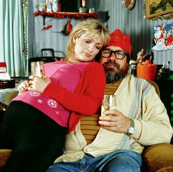 COMEDY GENIUS: Caroline Aherne with Ricky Tomlinson in a scene from 'The Royle Family'