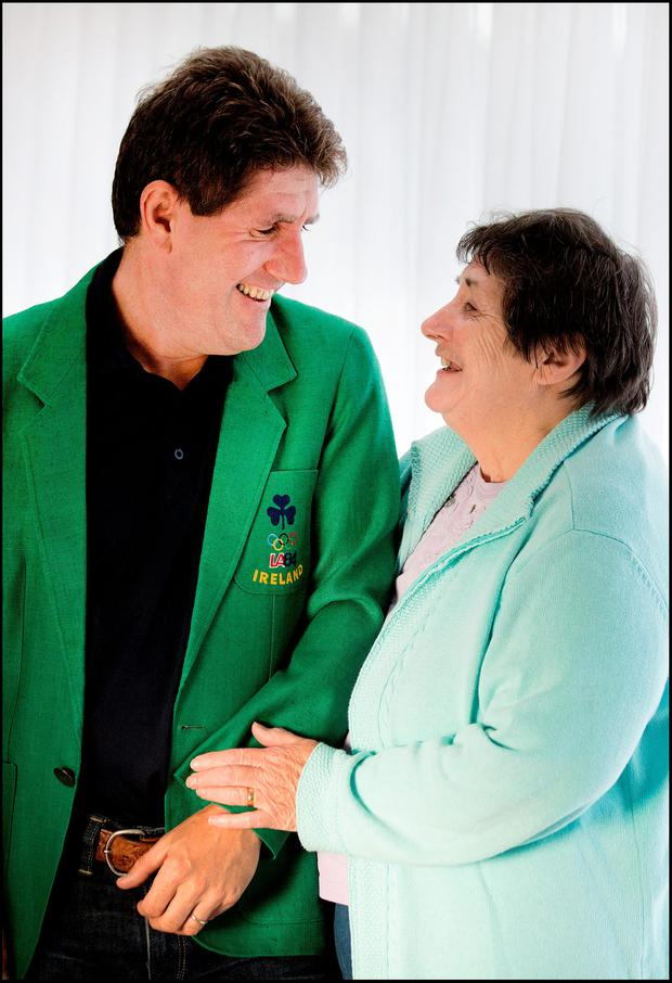 Paul Kimmage with his mother Angela and his Ireland blazer from the 1984 Olympic Games. Photo: David Conachy.