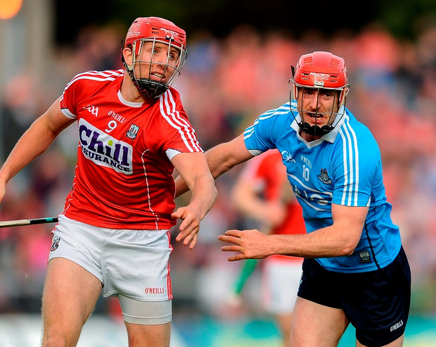 Bill Cooper of Cork in action against Ryan O'Dwyer of Dublin. Photo: Eóin Noonan/Sportsfile